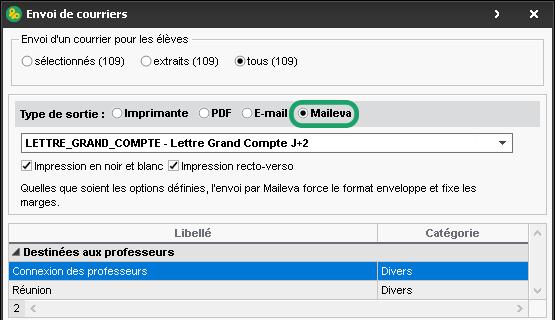 Courriers via Maileva