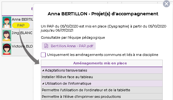 Projets d'accompagnement