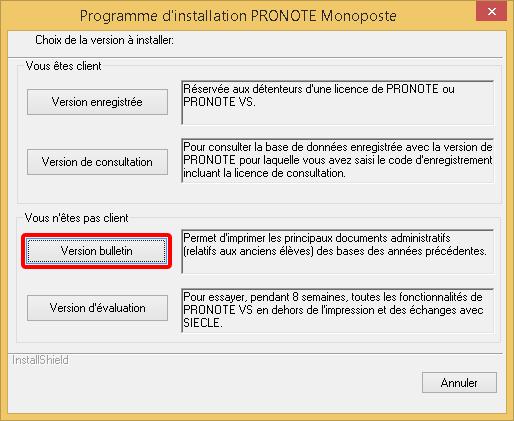 PRONOTE Installation copie d'écran