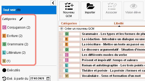Classement des QCM